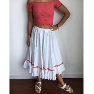 50's white full pleated dirndl midi skirt S